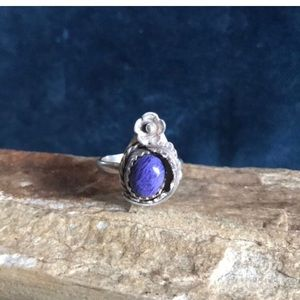 Vintage Native Sterling Silver & Charite Ring